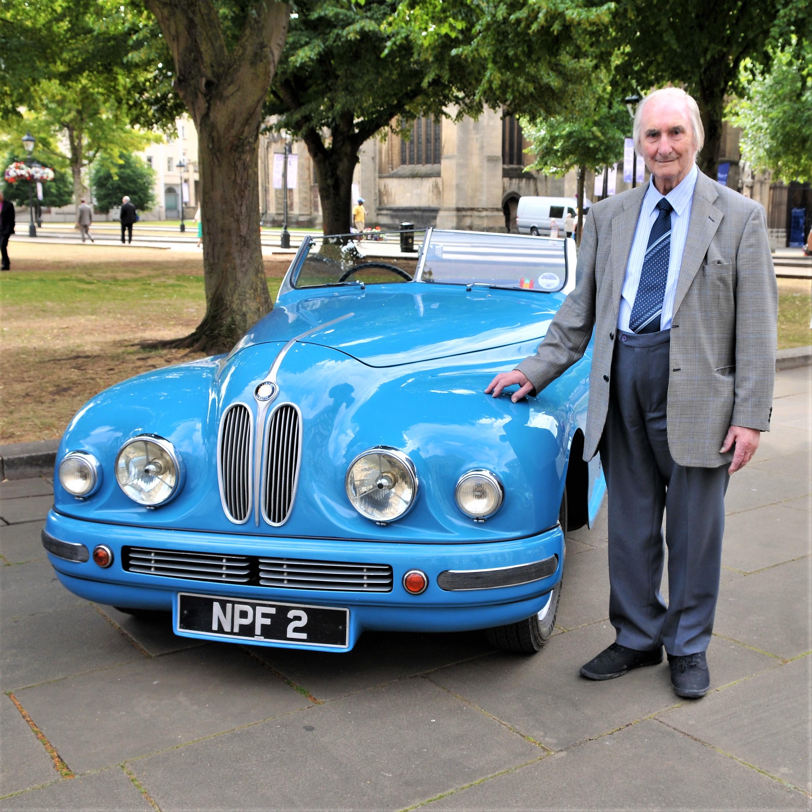 Syd Lovesy with Bristol Car in London