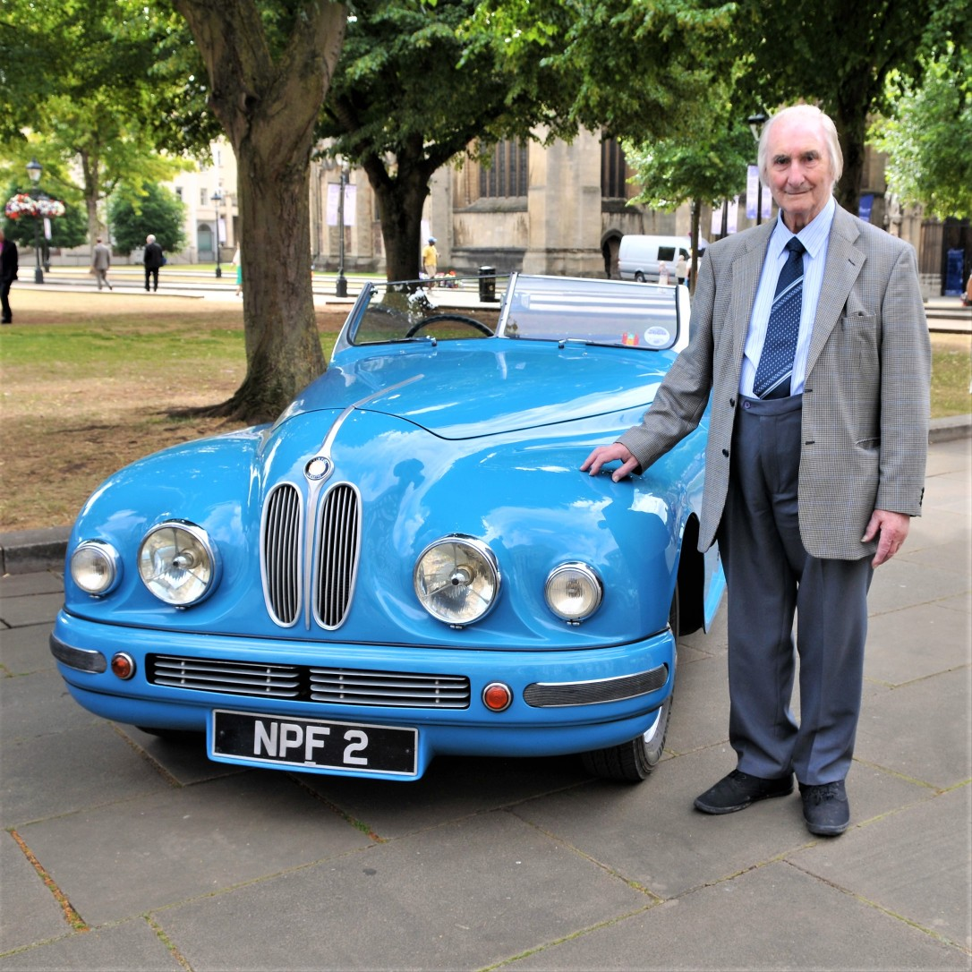 Syd Lovesy with Bristol Car in London